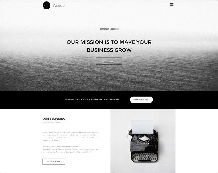 wooster vintage single page psd theme