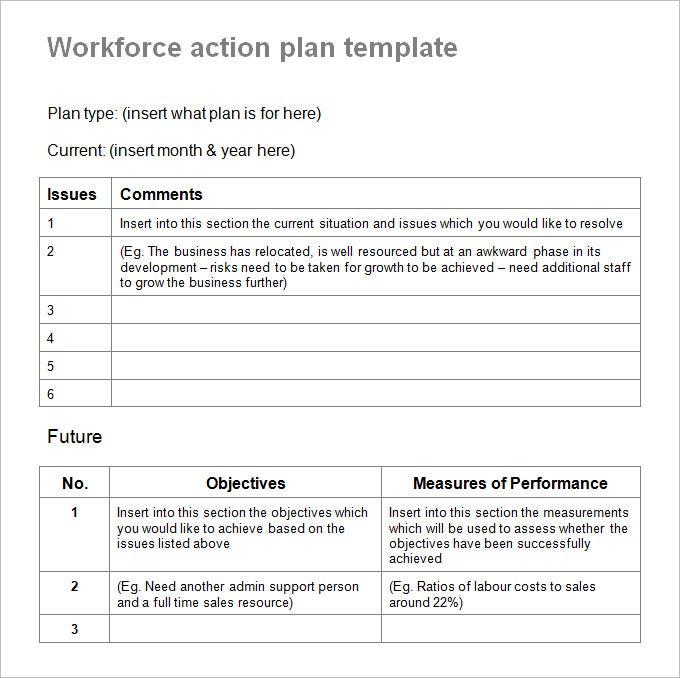 work forc action plan template