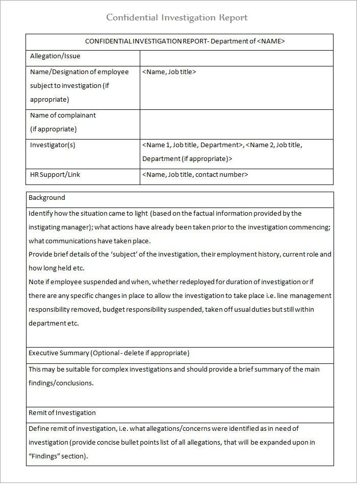 workplace confidential investigation report template