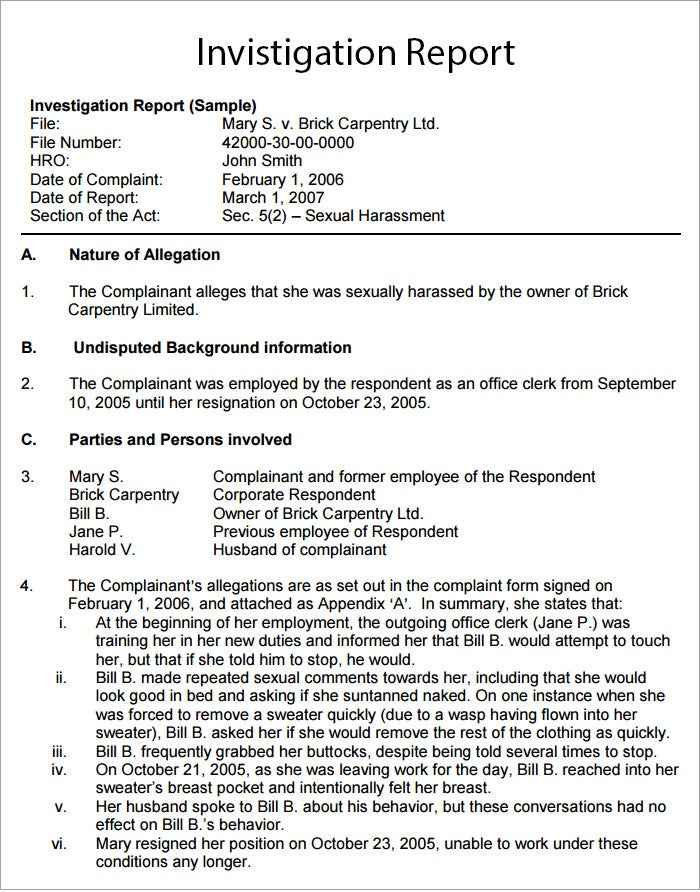 Workplace investigation report template 7 free pdf for Private investigator surveillance report template