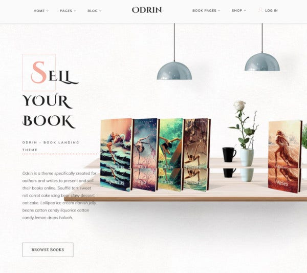 writers and authors book selling wordpress theme