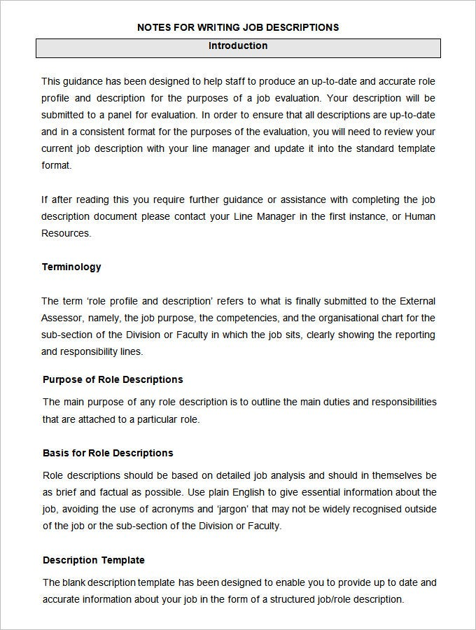 47 hr job description templates hr templates free With writing a job description template