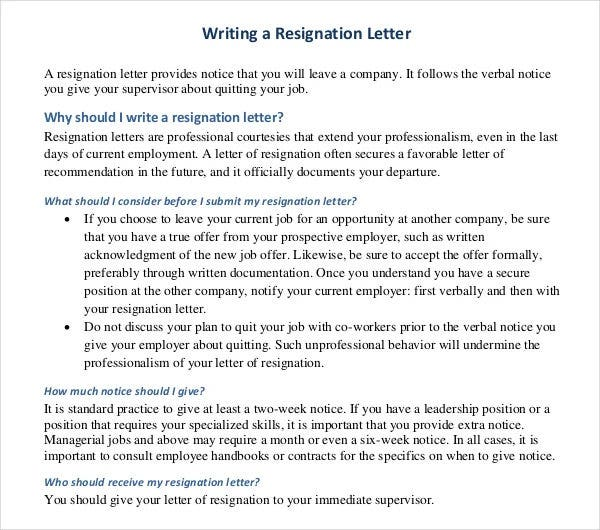 writing a resignation letter template example