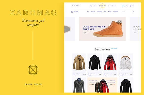 zaromag ecommerce psd template