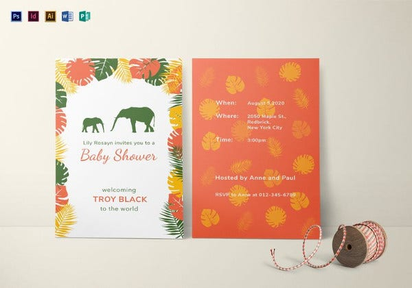 zoo baby shower invitation illustrator template