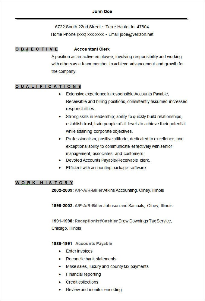 Good Accountant Clerk Resume Template Intended For Concise Resume Template