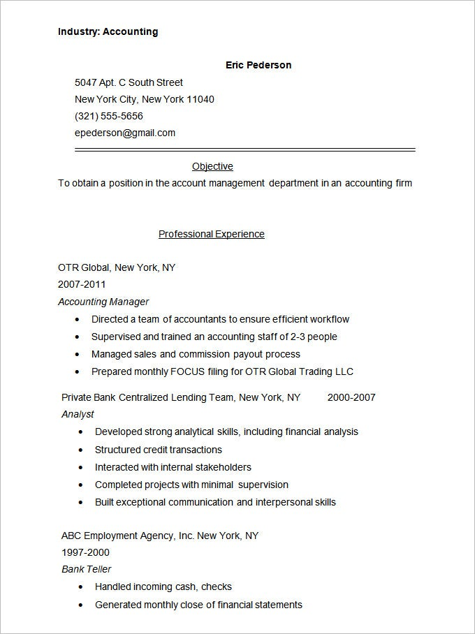 Accounting Sample Resume Accounting Resume Templates  16 Free Samples Examples Format .