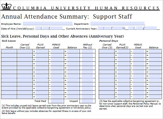 5+ Time And Attendance Forms | Hr Templates | Free & Premium
