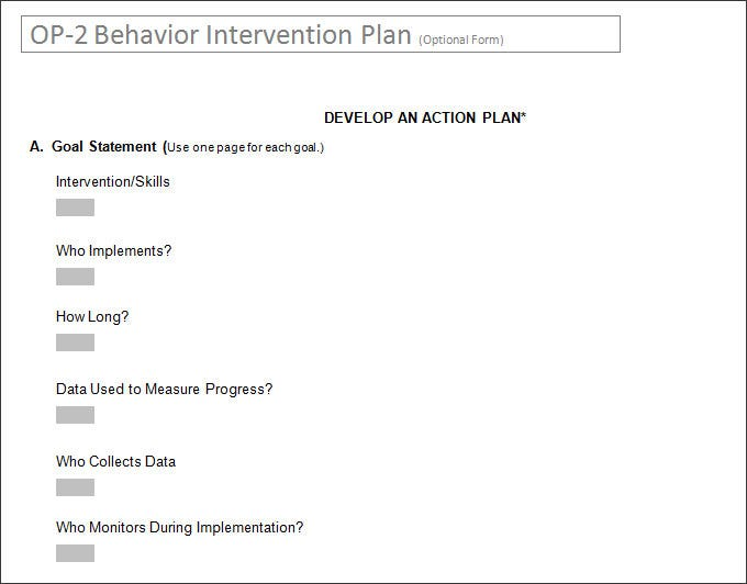 Behavior Intervention Plan Form Word