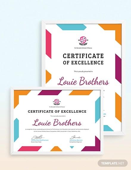 dance acheivement certificate