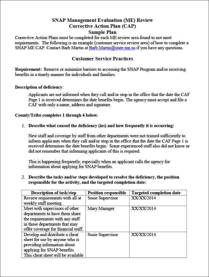 Corrective Action Plan Template   Free Word Excel Pdf Format