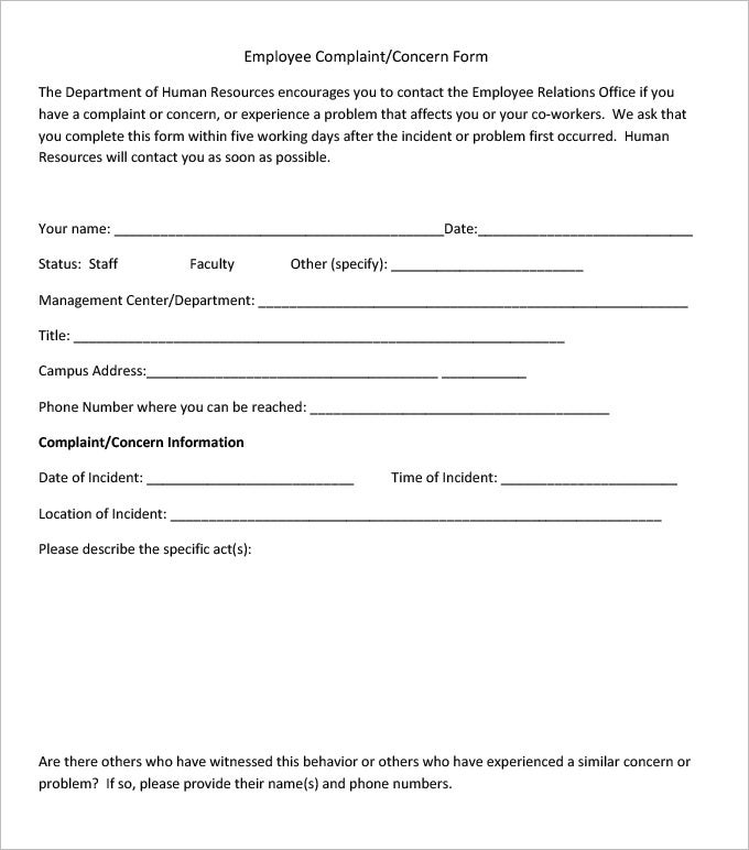 Employee Complaint Form Example Hr Management Employee Complaint