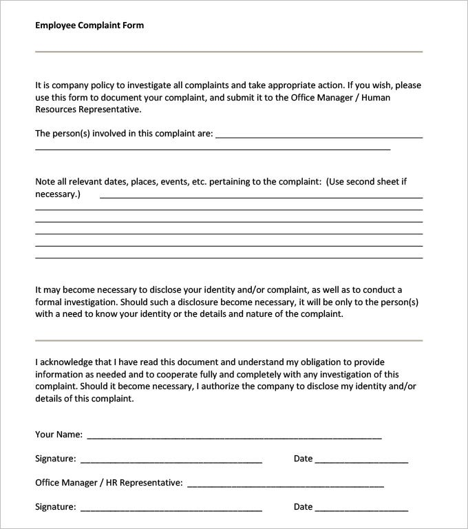 Awesome Employee Harassment Complaint Form