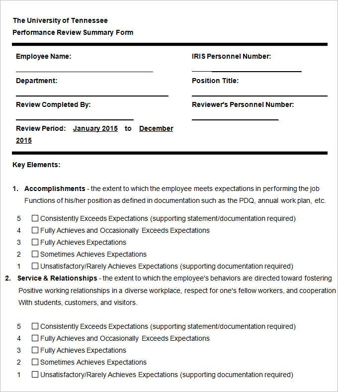 employee performance evaluation templates free