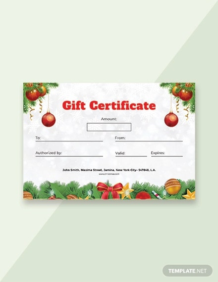 free christmas certificate