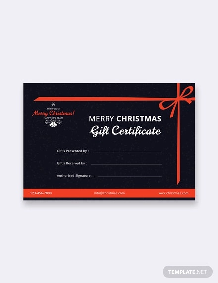 free merry christmas certificate