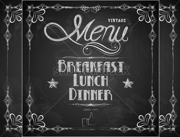illustration of lunch menu written on chalkboard