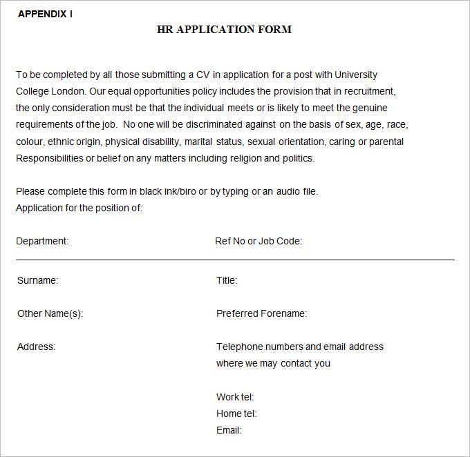 job applications forms