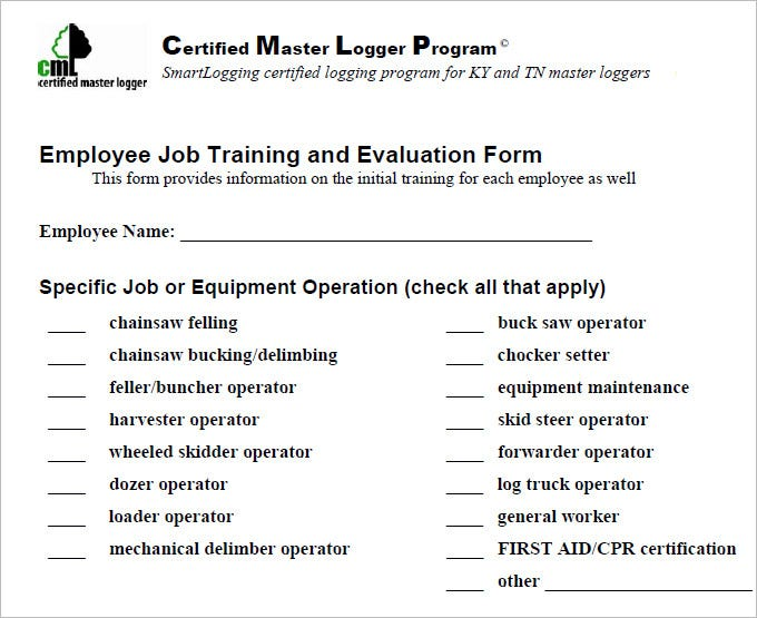 13 HR Evaluation Forms HR Templates – On the Job Training Evaluation Form