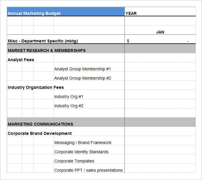 Annual Marketing Budget Plan Template Excel