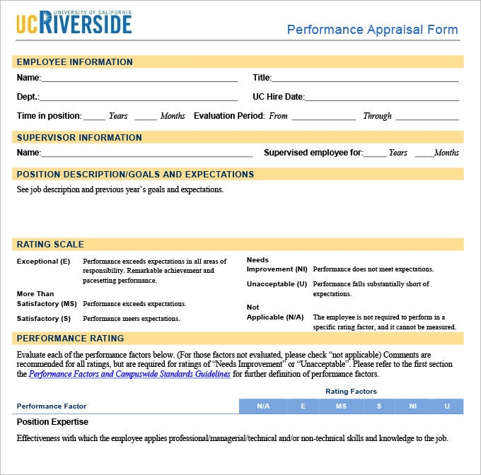 11 HR Appraisal Forms HR Templates – Performance Appraisal Example