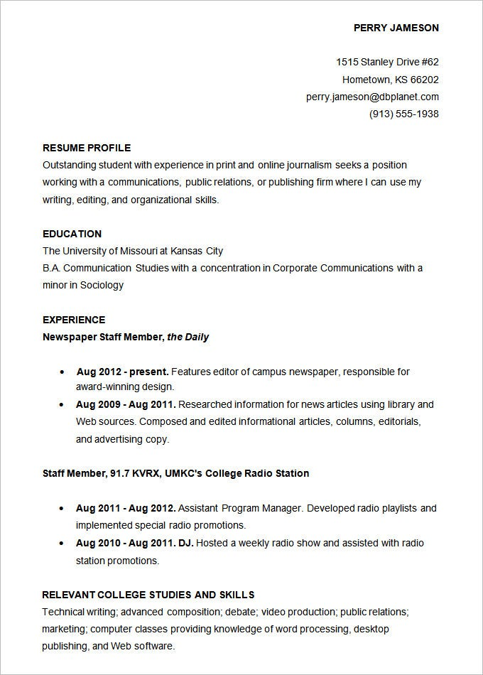 Resume Sample Accounts College Student Academic. Free Download
