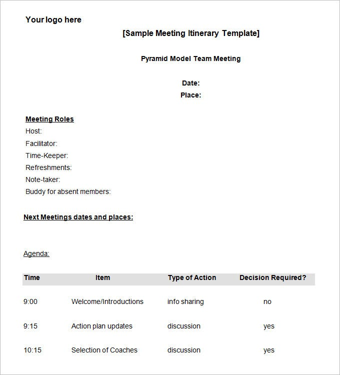 10 meeting itinerary template word pdf free premium templates