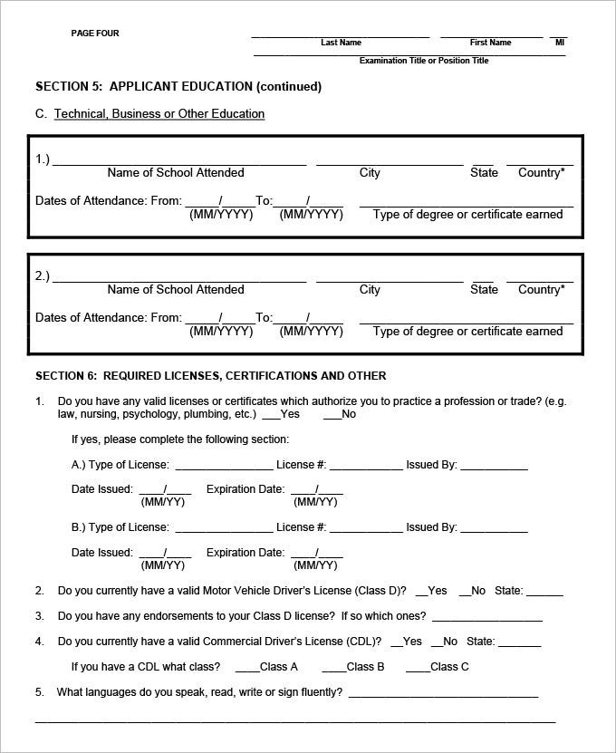 standard employment application form