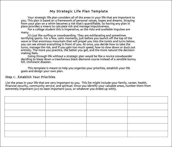 Life Plan Template   Free Word Pdf Documents Download  Free