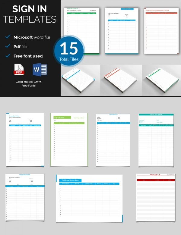Sign In Sheet Templates 52 Free Word Excel PDF Documents – Sign out Sheet Template Word