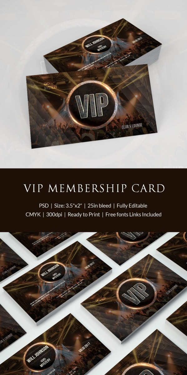 club vip membership card psd download
