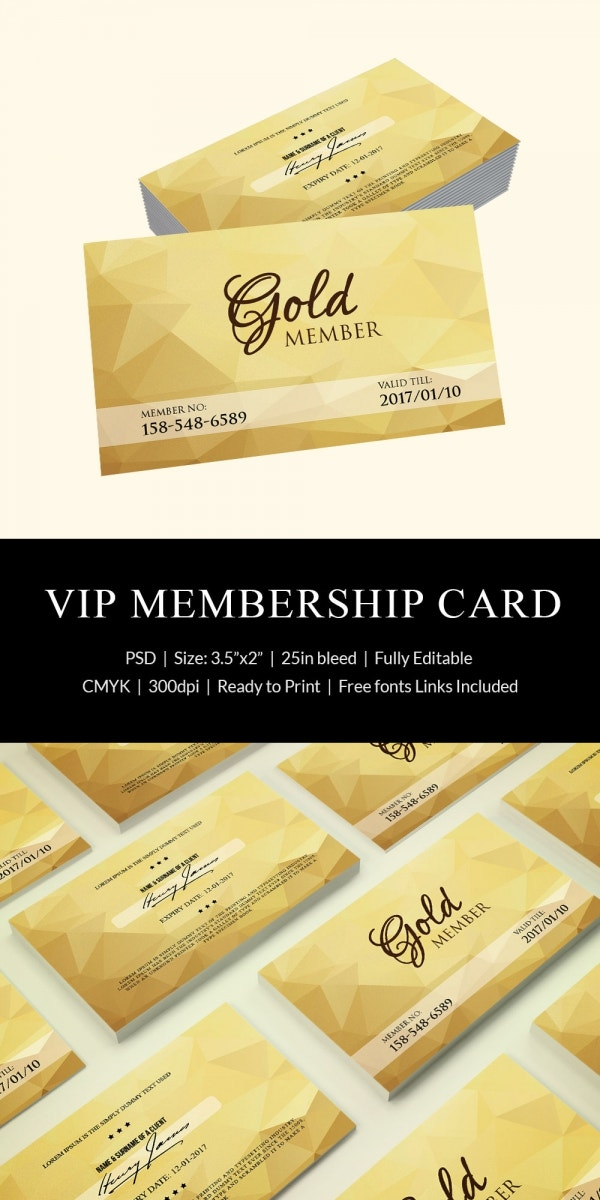 gold membership card template