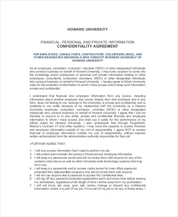 Human Resources Confidentiality Agreement 10 Free Word PDF – Financial Confidentiality Agreement