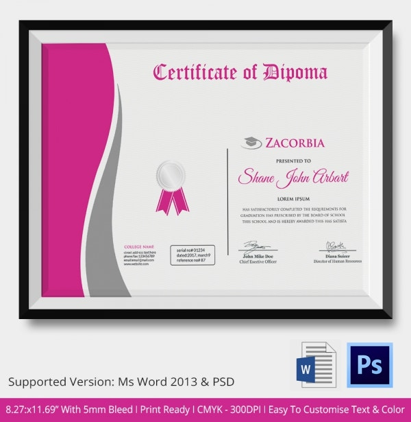 Diploma certificate template 26 free word pdf psd eps diploma certificate fully layered editable template download yadclub Gallery