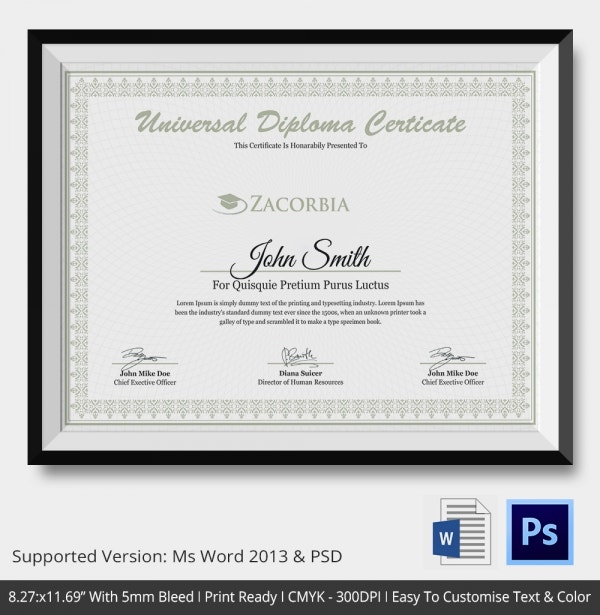 high school diploma template with seal