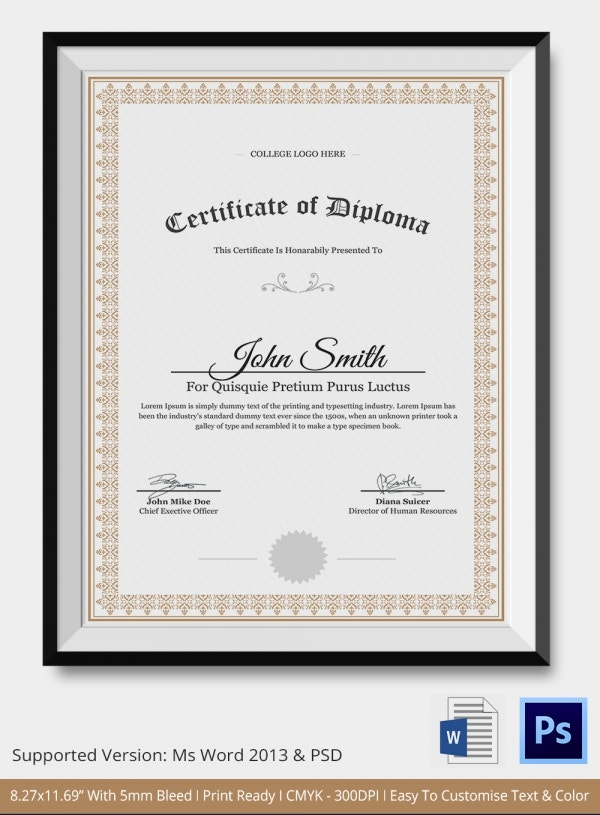 Diploma Certificate Template 25 Free Word PDF PSD EPS – Make a Certificate in Word