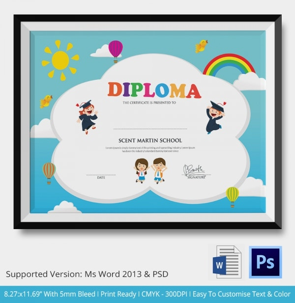 High School Diploma Template Word Free Download!!