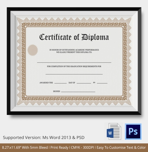 Diploma certificate template 25 free word pdf psd for Free fake high school diploma templates