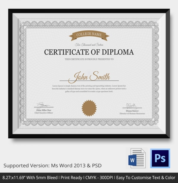 Diploma Certificate Template 26 Free Word Pdf Psd
