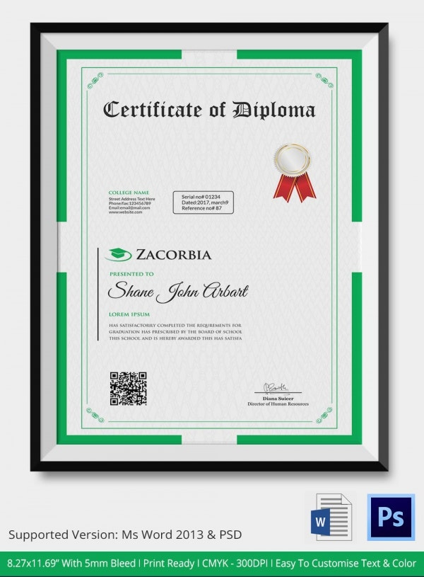 Diploma Certificate Template 25 Free Word PDF PSD EPS – Certificate Border Word