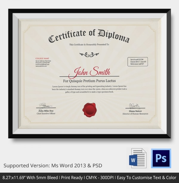 Diploma certificate template 26 free word pdf psd eps modern classy diploma award certificate template psd photoshop and word yelopaper Choice Image