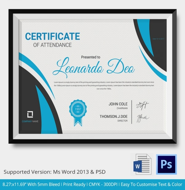 attendance certificate template � 24 free word pdf