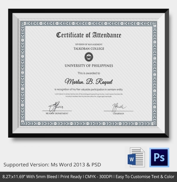 Attendance Certificate Template – 24+ Free Word, Pdf Documents