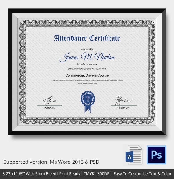 Attendance Certificate Template 24 Free Word PDF Documents – Free Perfect Attendance Certificate Template