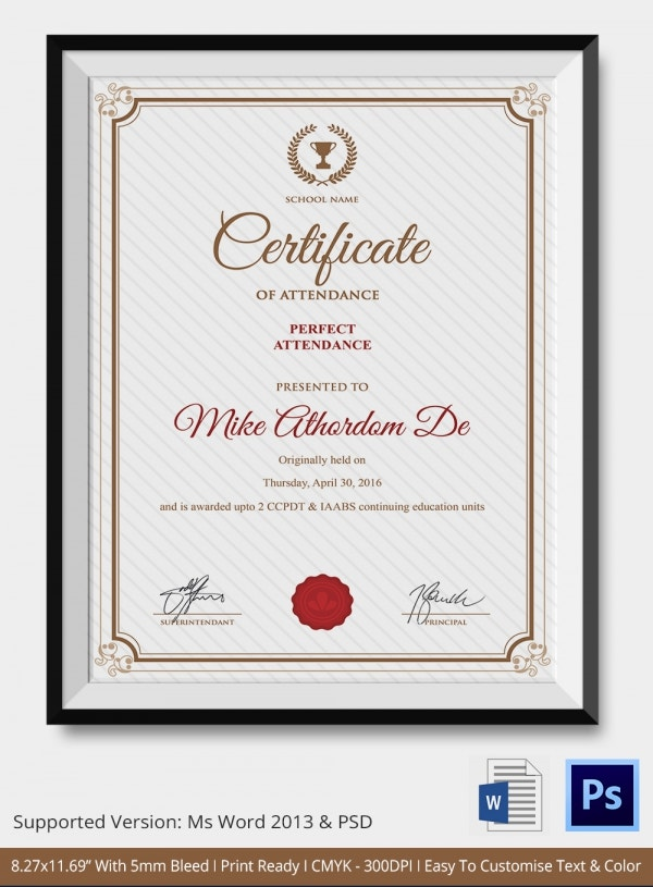 Attendance Certificate Template 24 Free Word PDF Documents – Certificate Format in Word
