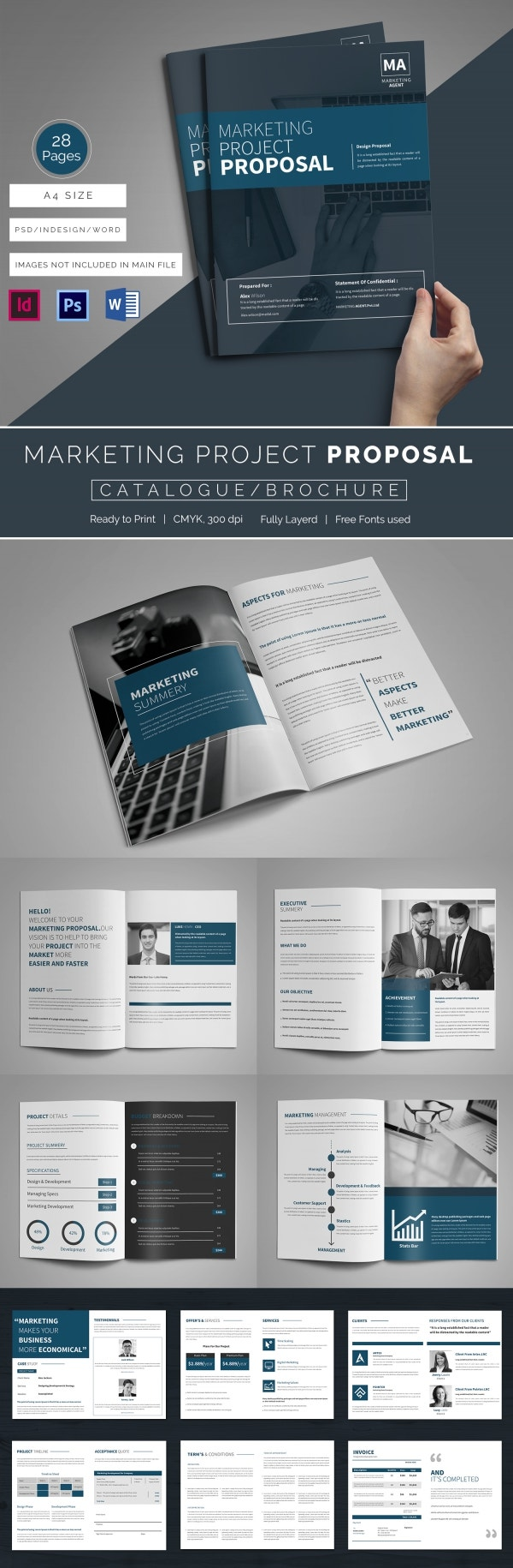 marketing proposal word excel pdf format marketing project proposal mockup