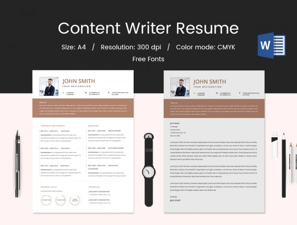 Fresher Content Writer Resume Template
