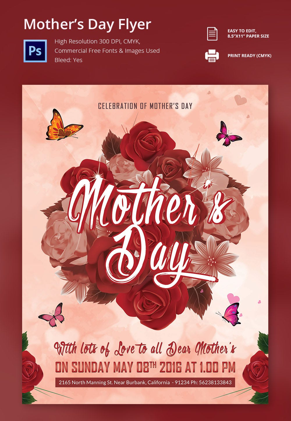Editable Mothers Day Flyer Template  Example Flyer