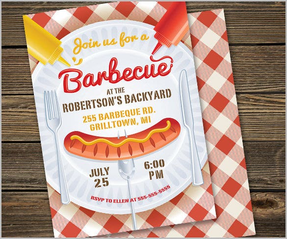 fun bbq invitation barbecue party invite hot dog cookout gingham picnic retro