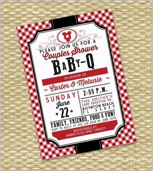 Gender Neutral BabyQ Invitation Couples Baby Shower BBQ Invitation